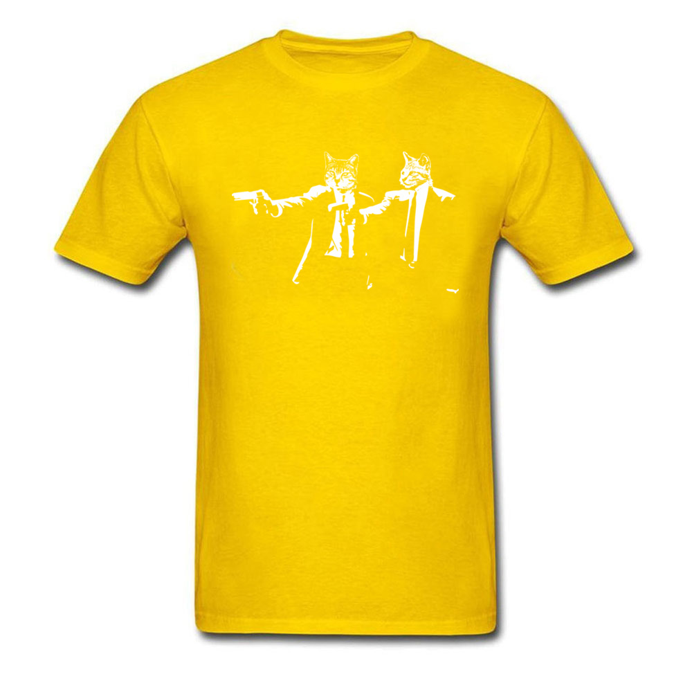 Summer Short Sleeve Tops Shirts ostern Day New Fashion Round Neck 100% Cotton Fabric Tee Shirt Men's Tshirts Cat_Fiction_1098 Cat_Fiction_1098 yellow