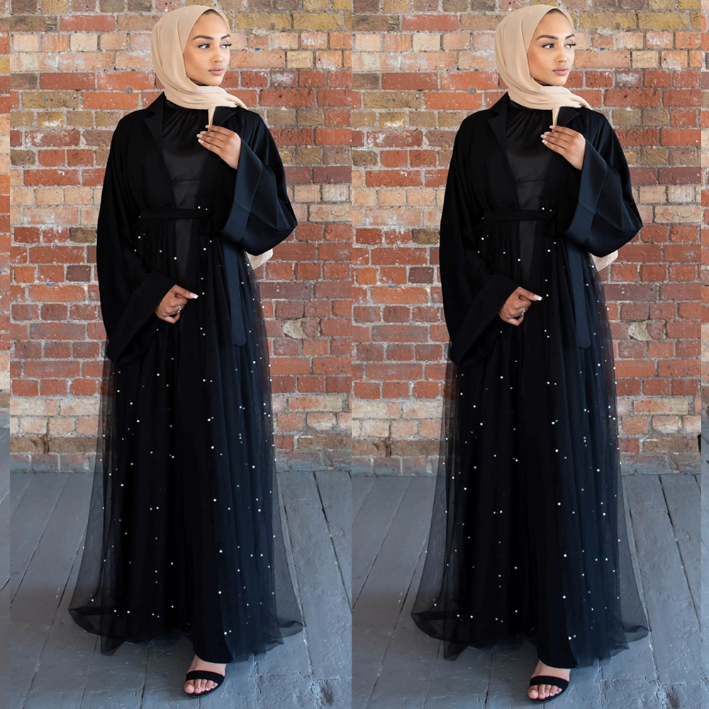 Black Open Abaya Kimono Cardigan Hijab Muslim Dress Women Turkey Kaftan Dubai Caftan Marocain Islam Clothing Ramadan Abayas Robe