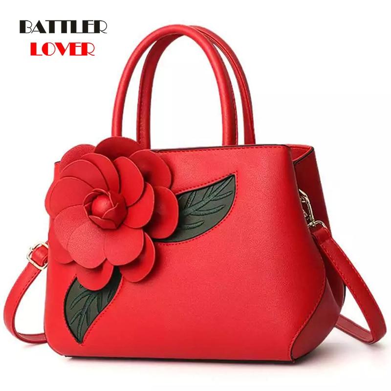 Women PU Leather Bag Ladies 3D Flower Embossed Handbag Women