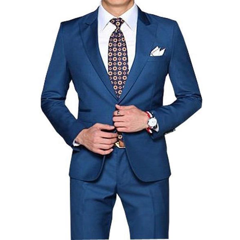 New Arrival Straight Blue Men Tuxedos Peaked Lapel Wedding Suit For Men 2 Pieces Slim Fit For Wedding Men Suits Jacket+Pants
