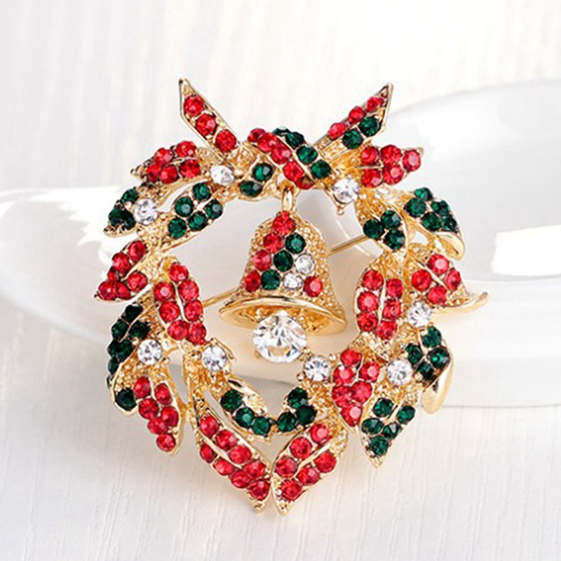 Xmas Bell Garland Brooches Women Vintage Christmas Jewelry Child Pin Dress Coat Accessories Gift