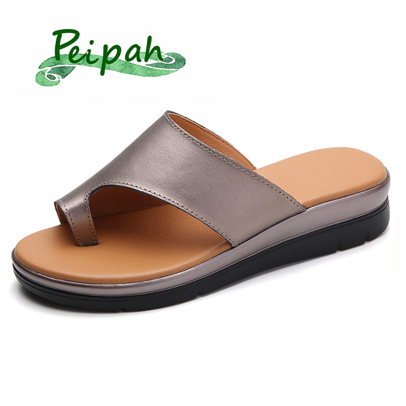 PEIPAH 2019 Summer Genuine Leather Women Slipper Wedge Correction Sandals Summer Female Shoes Orthopedic Bunion Corrector