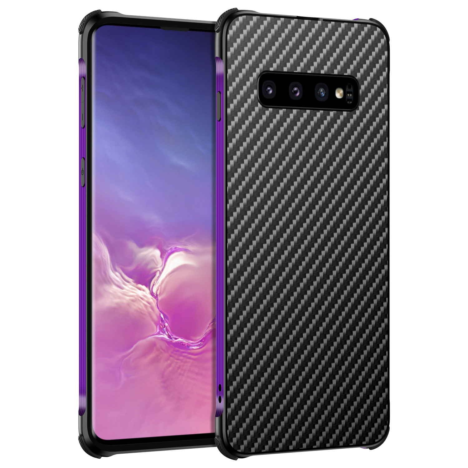 Beyour for Samsung S10 Case Runway Gene Metal Frame Carbon Fiber Cover For Samsung Galaxy S8 S9 Note 8 9 10 Plus Phone Case Capa