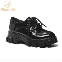 Platform-Shoes Lace-Up Middle-Heels Round-Toe Thick-Bottom Comfortable Women Phoentin
