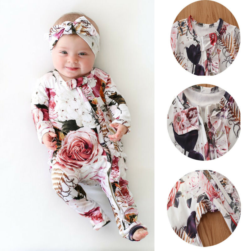 Newborn Girl Romper Jumpsuit Long-Sleeve Zipper Ruffled Rose Headwear Comfortable title=