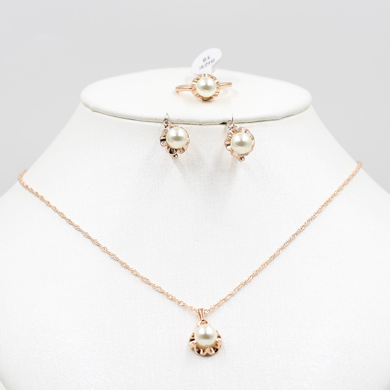 Rose gold and pearl jewelry set African bride 585 gold necklace earrings ring fashion women wedding party holiday jewelry set title=