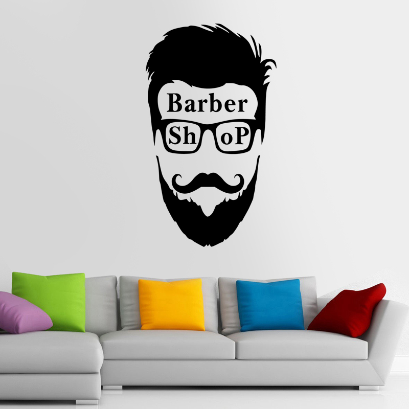 Man Barber Shop Sticker Name Chop Bread Decal Haircut Shavers Posters Vinyl Wall Art Decals Decor Windows Decoration Mural Ml025