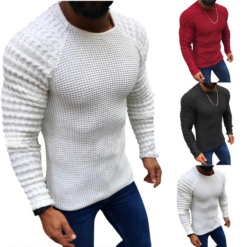 Wenyujh Men/'s Autumn Knitted Sweaters 2019 Fashion Solid Casual Sweaters Winter Warm Slim Fit Long Sleeve Knitwear Pullover Male