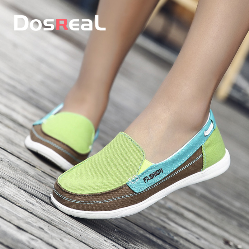 Dosreal Spring Women Flats Canvas Shoes For Female Soft Casual Sneakers Shoes Sweet Fashion Moccasins Ladies Loafers Flats Shoes