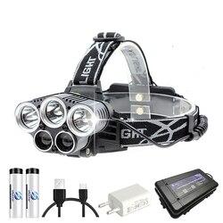 USB Перезаряжаемый светодиодный налобный фонарь 5 белый светильник или 3 белый + 2 Буле светильник водонепроницаемый светодиодный головной св...