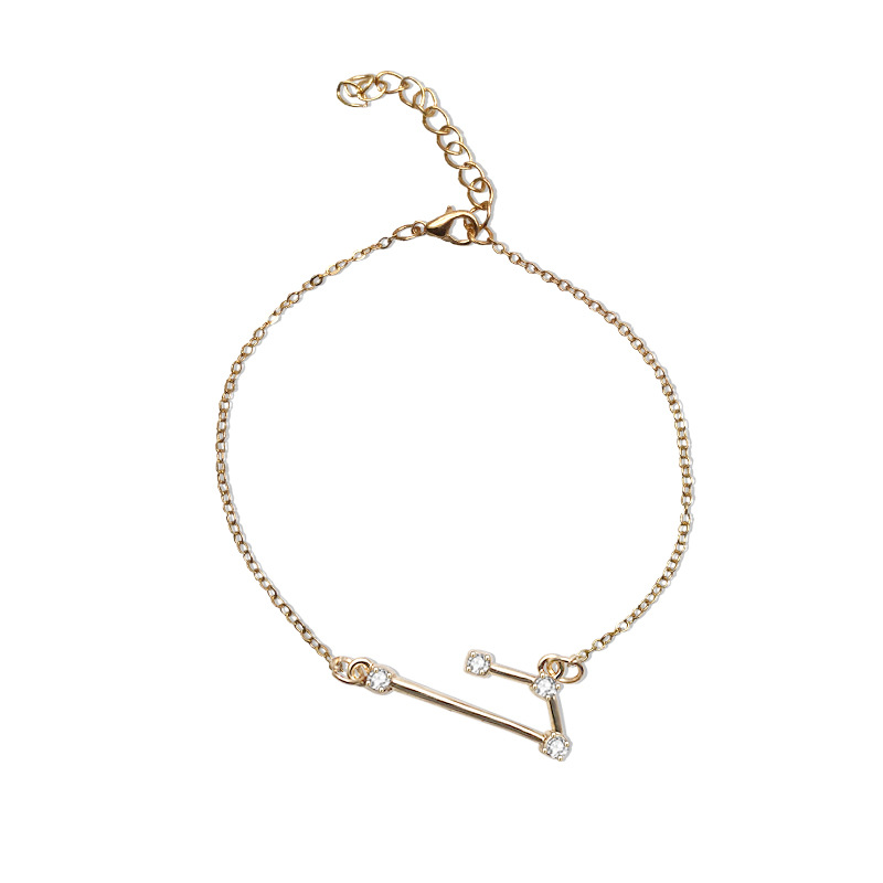 Qings Zodiac Exclusive Gold Plated Bracelet Constellations Horoscope Astrology Adjustable with Sparkling Zircon for Women and Girls