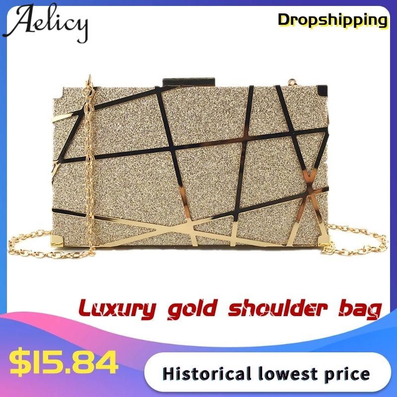 Aelicy Bolsas Glitter-Bag Chain-Shoulder-Bag Evening-Bag Wedding-Clutches Minaudiere title=