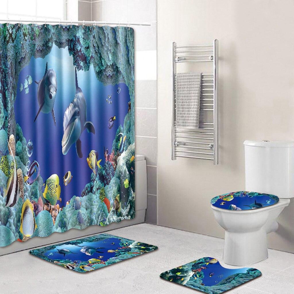 4Pcs Girasol Decoración del Hogar de Cortina de ducha Cuarto de Baño Cubierta De Asiento De Inodoro Alfombra de baño