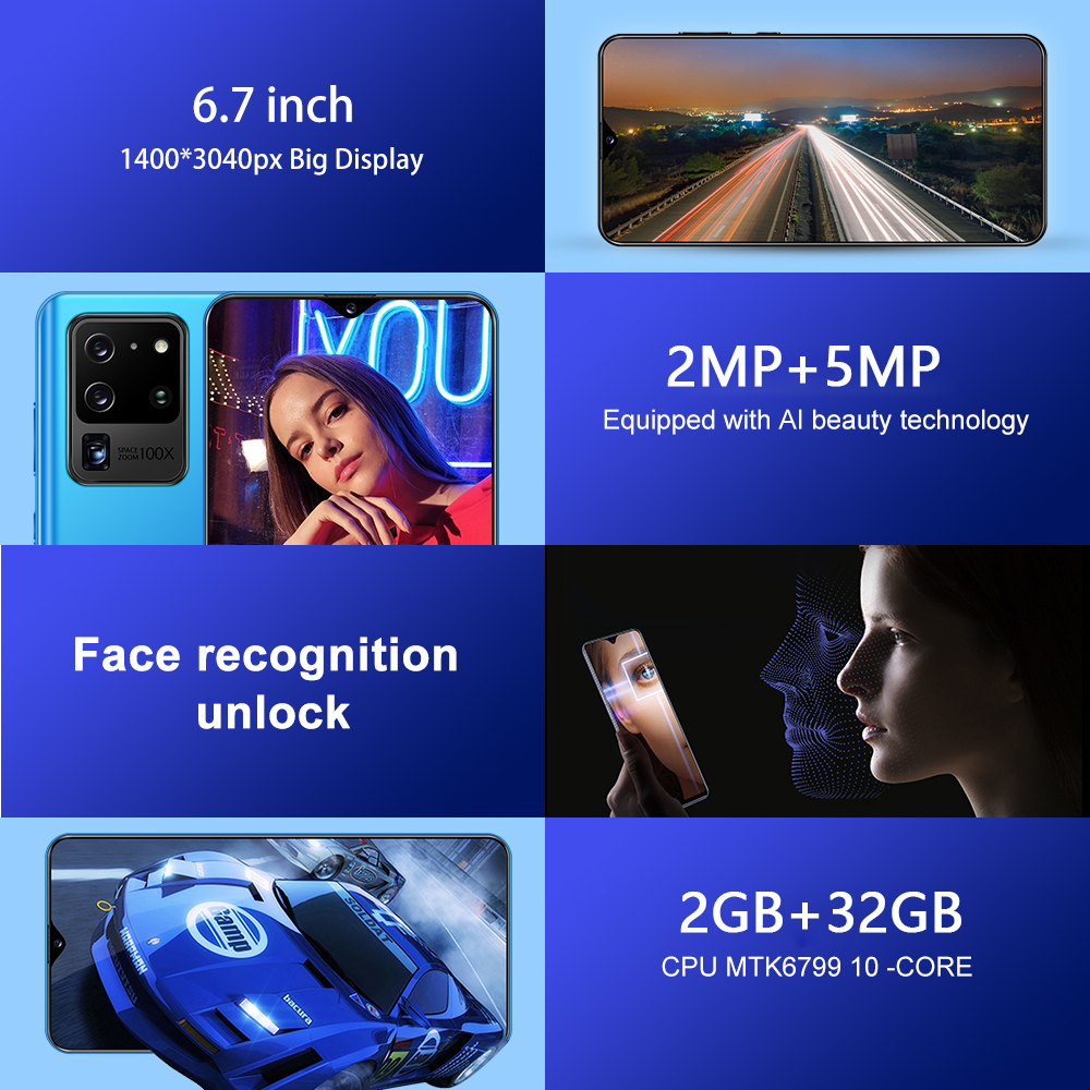 SOYES S30U Mobile Phone Android 10 Cellphones 6.7 inch 32G ROM Dual SIM Card 4800mAh SmartPhones