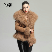 Jacket Coat Real-Sheep-Fur Women Genuine Split-Skin-Garment PUDI Winter Warm CT930 Pig