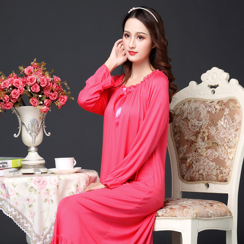 Spring Autumn Cotton Modale Lady Long Sleeves Loose Long Korean Version Pink And White Princess Sleepwear Gown Gown Пижама