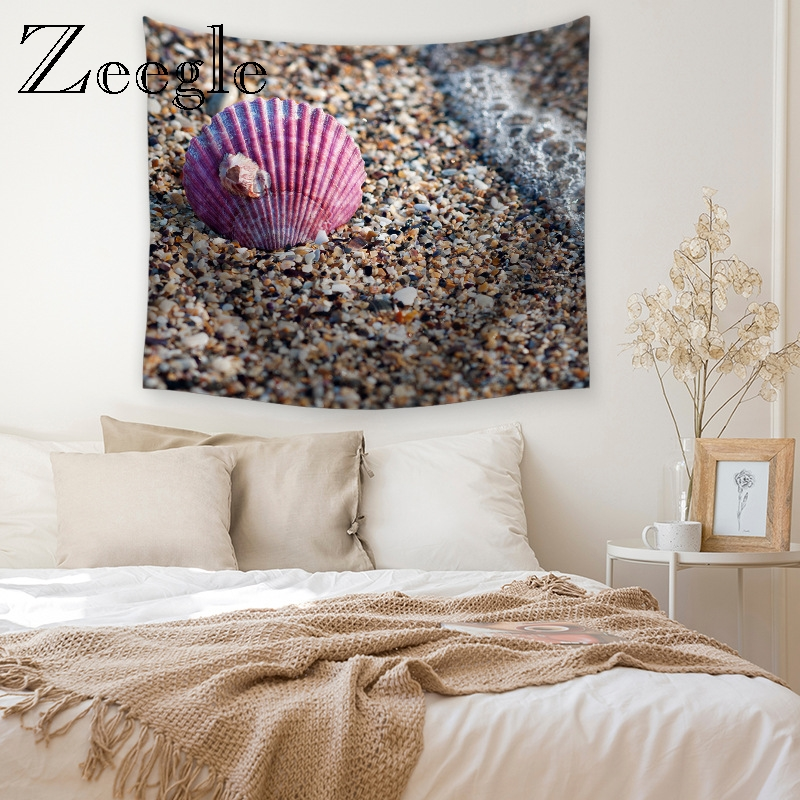 Zeegle 3D Printed Shell Wall Hanging Tapestry for Living Room Decor Picnic Blanket Beach Towel Bedroom Account Office Tapestry