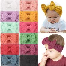 12Pcs Newborns Nylon Headbands Hair Bows Super Stretchy Knotted Turbans for Baby Girls Newborn Infant Toddlers Kids