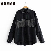 AOEMQ Thin-Jackets Punk Cool Black-Color High-Street Women New with Button Draped Tassel