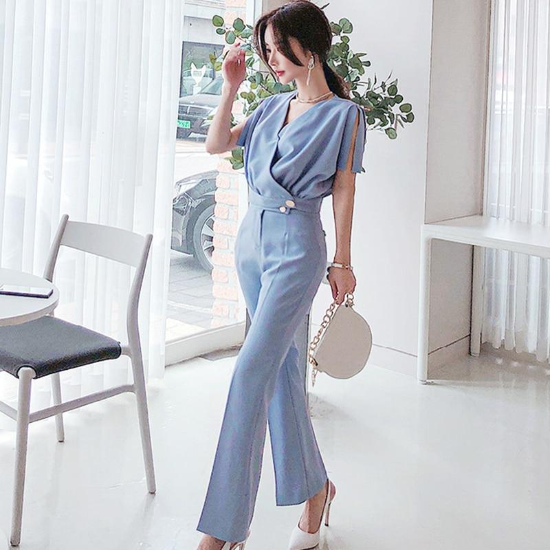 H Han Queen 2-piece Set  Women 2020 Summer Elegant V-neck Crop Top & High Waist Long Pants OL Work Occupation Casual Pants Suits
