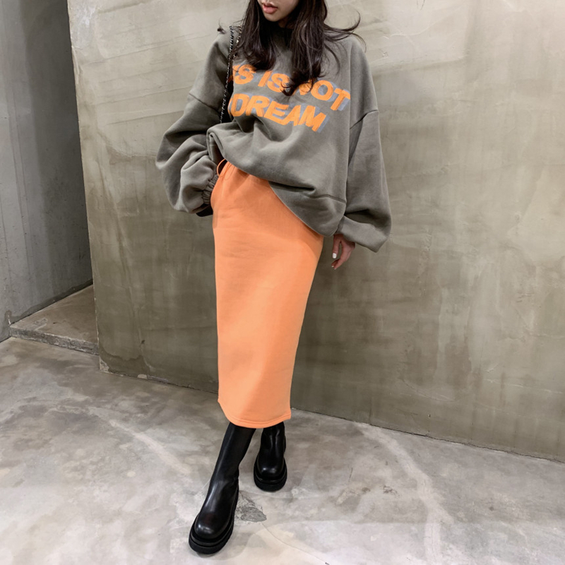 2020 Spring And Autumn New Youth Popular Letter Print Sweatshirt Set Fluorescent Split Skirt Two-piece Women/'s One Size
