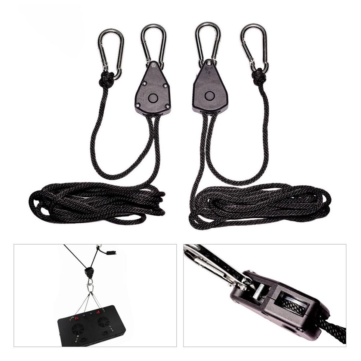 4PCS 1//8 Inch Heavy Duty Grow Light Ratchet Rope Hanger Yoyo for Fixtures Garden