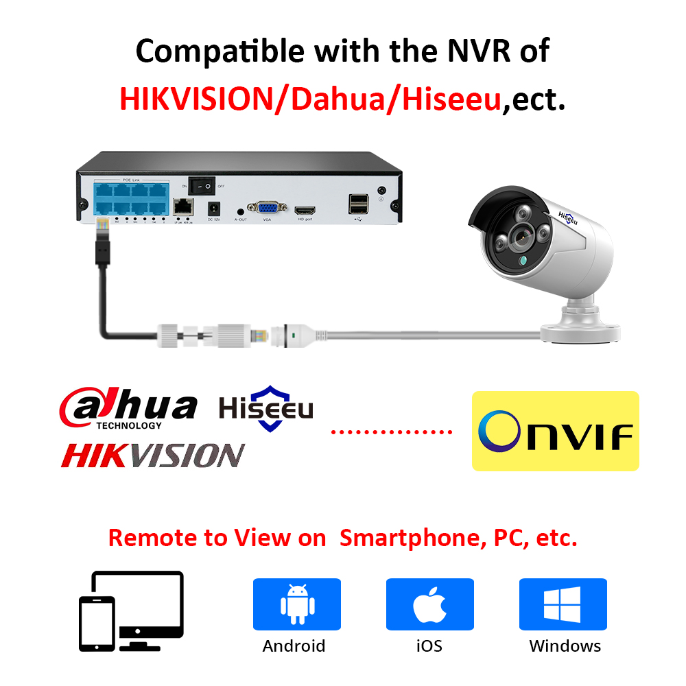 Hiseeu 1536P POE IP Camera ONVIF H.265 Audio Record CCTV Camera 3.0MP Waterproof IP66 Outdoor Home Security Video Surveillance
