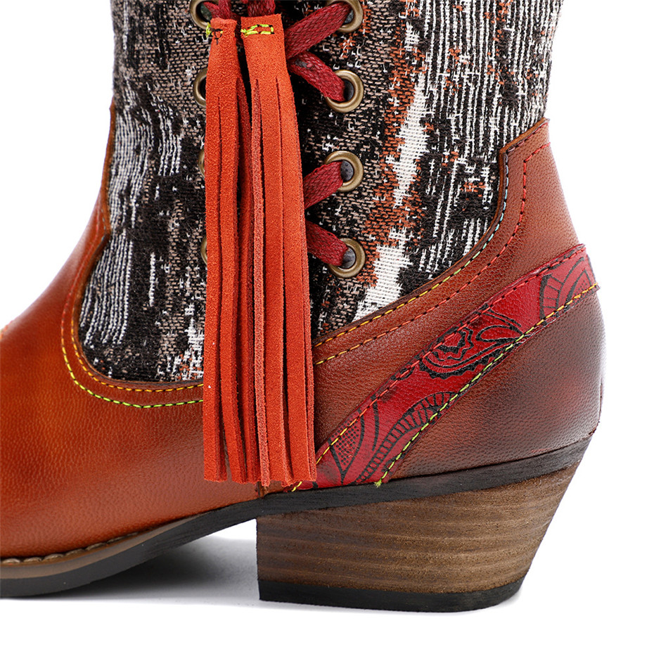 New Genuine Leather Fine Printed Ladies Shoes Ankle Boots Vintage Handmade Chunky Heel Embroidery Western Boots Shoes For Woman  (7)
