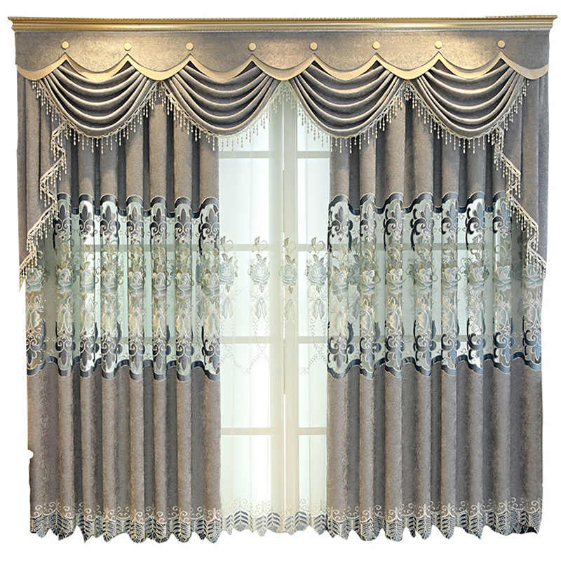 Gray Hollow Curtain Needlepoint Embroidered Europe Floral French Window Curtains For Living Room Tulle Kitchen Bedroo M118#4