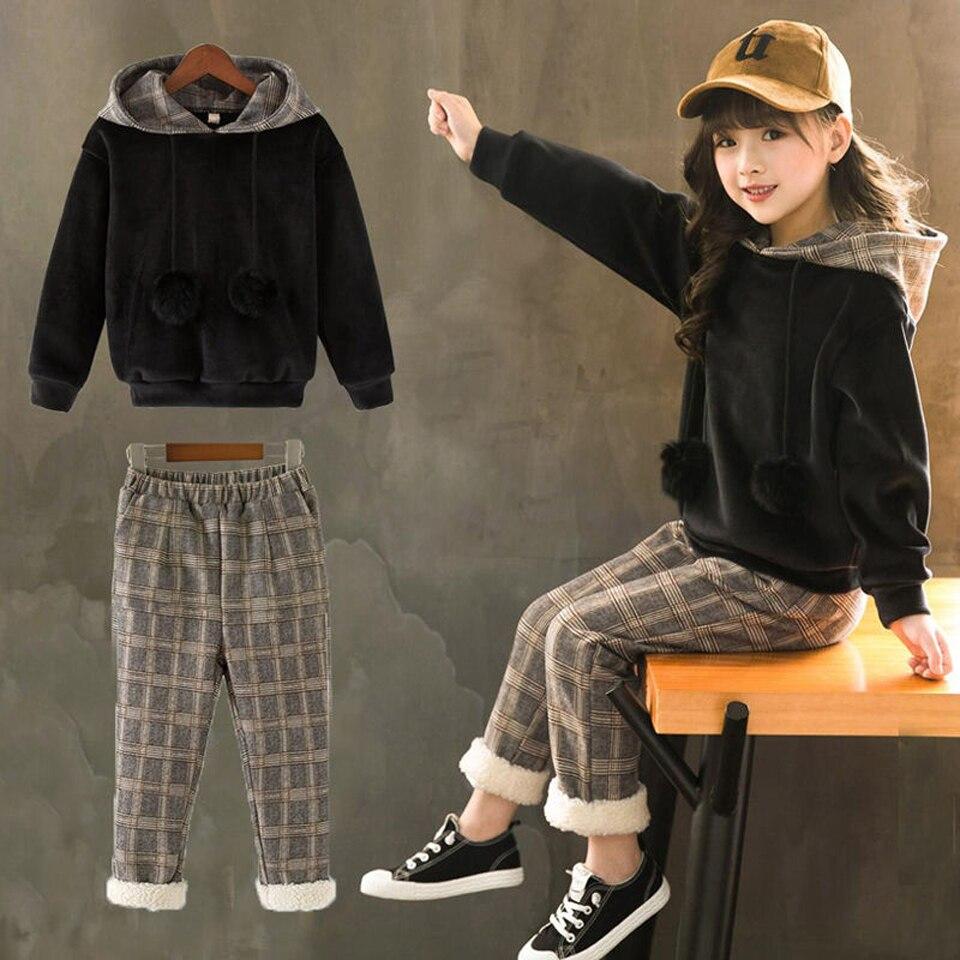 2020 New Girls Sports Suit Children Clothing Sets Baby Kids Sportswear Big Girls Hoodies Shirt & Plaid Pants Twinset Suits