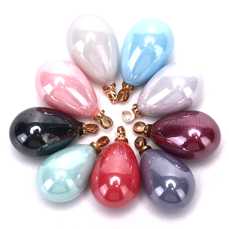 10Pcs/Set  Fashion Water Drop Pearl Enamel Pendants Charms For Jewelry Making Diy Tassel Earrings Accessories