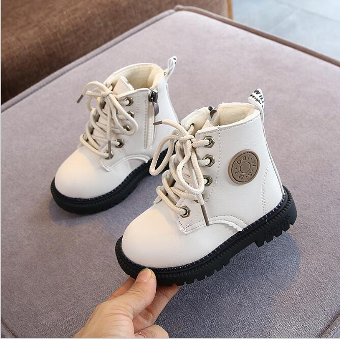 2020 Autumn/Winter Children Boots Boys Girls Leather Martin Boots Plush Fashion Waterproof Non-slip Warm Kids Boots Shoes 21-30