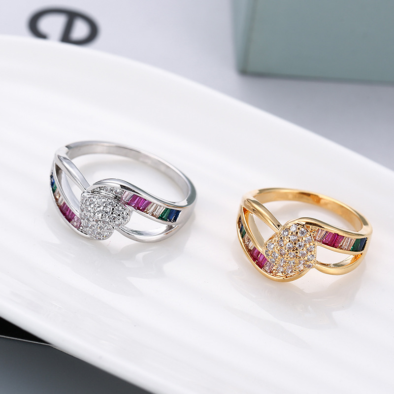 Rainbow Series Creative Design Micro Inlaid Festive Heart Ring Hot Sale Proposal Couple Ring