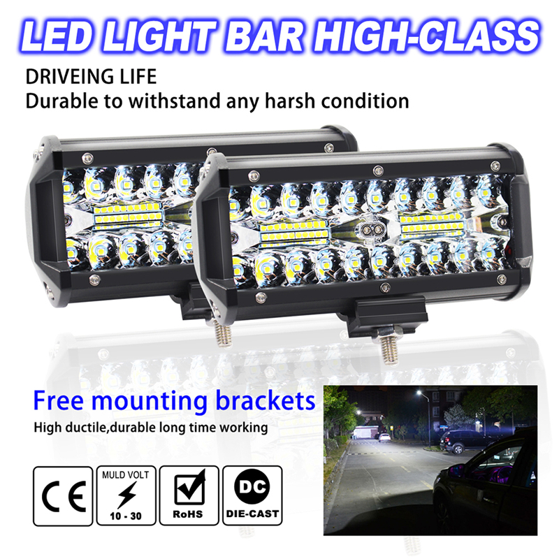 Bar-Lamp Beam Led-Light Car-Accessories Driving Offroad Car Flood-Spot Auto 4x4 7inch title=