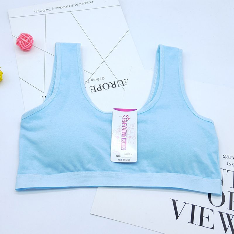 Big Girls Students Underwear Bra Vest Teen Children Sweet Solid Candy Color Cotton Breathable Removable Padded Training Bralette