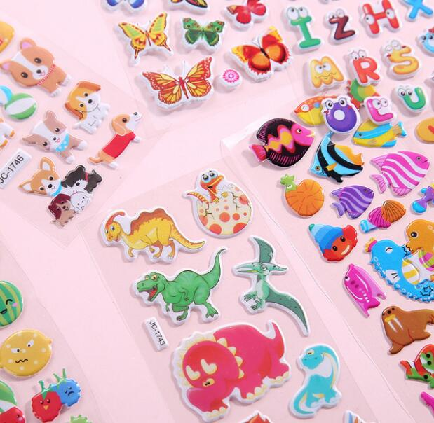 10 Sheets//lot Cartoon Stickers 3D Cartoon Characters Gifts For Girls Boys
