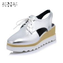 PKR 3,810.61  24%OFF | XIUNINGYAN Women Platform Shoes Oxfords Brogue PU Flats Lace Up Shoes Creepers Vintage Hollow Light Sole Casual Shoes Plus size