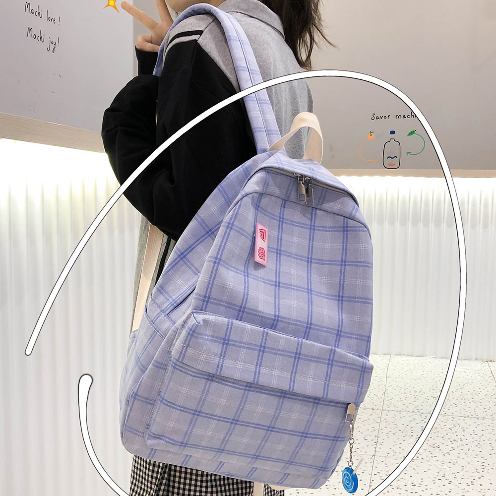 Fashion Girl Book School Bag Plaid Kawaii Backpack Lattice Ladies Bag Student Women Harajuku Cute Backpacks Cotton Fabric Female