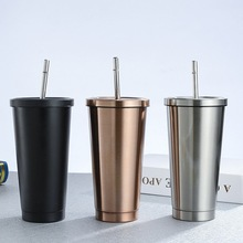 500ml Mug Beer-Mugs Metal-Cup Stainless-Steel Drink-Straw with Lid
