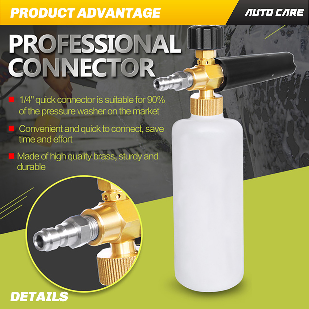 White Foam Cannon Car Wash Snow Adjustable High Pressure Washer with 1//4 Quick Connector Foams Blaster