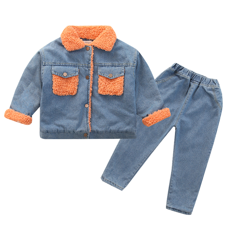 Girls Boutique Outfits Girls Winter Clothing Set 2020 Toddler Kids Outfits Children Fleece Warm Jeans Sets Winter Clothes