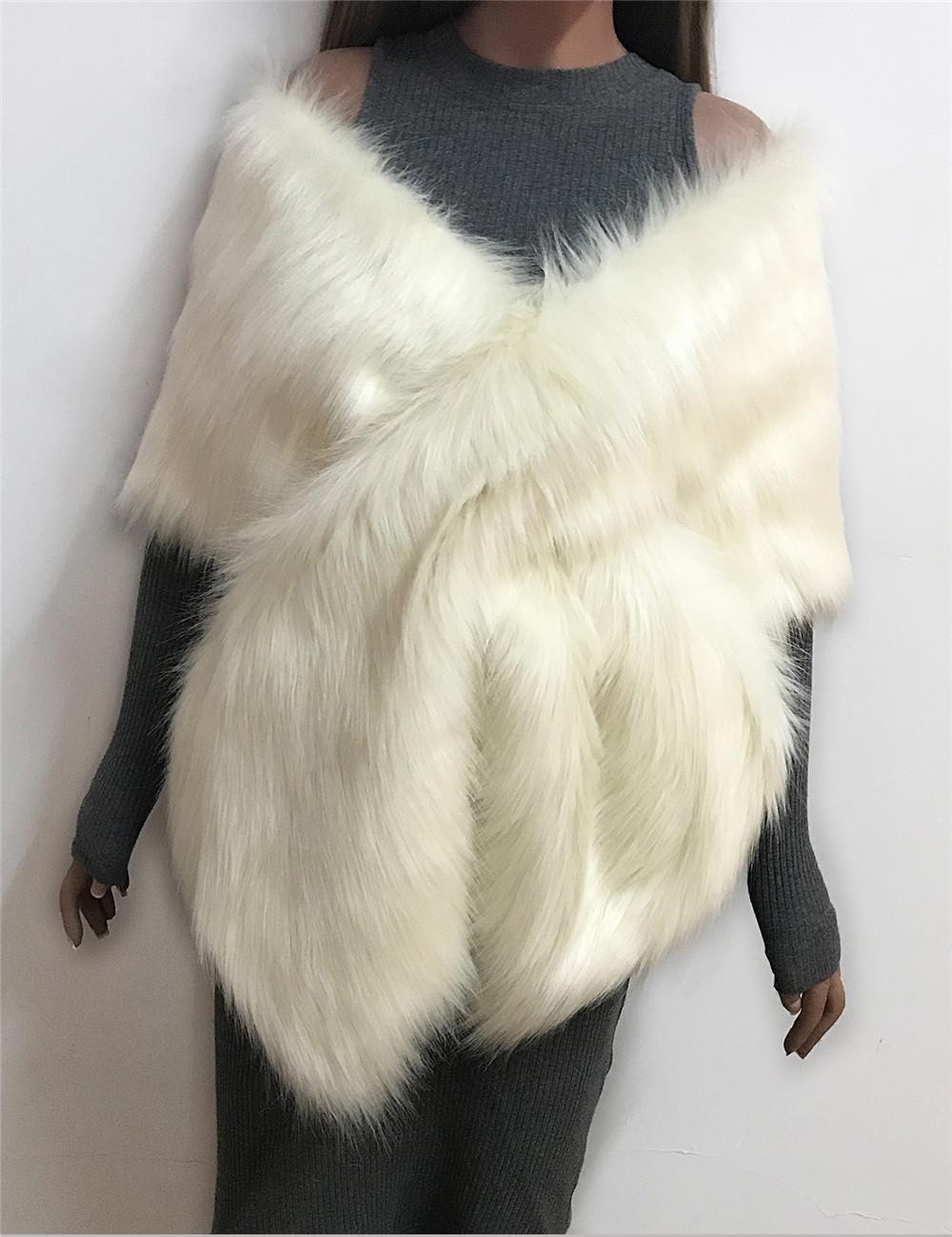 The autumn and winter new imitation fur big cape neck scarf multi-color joker scarf bride dress cross cape (5)