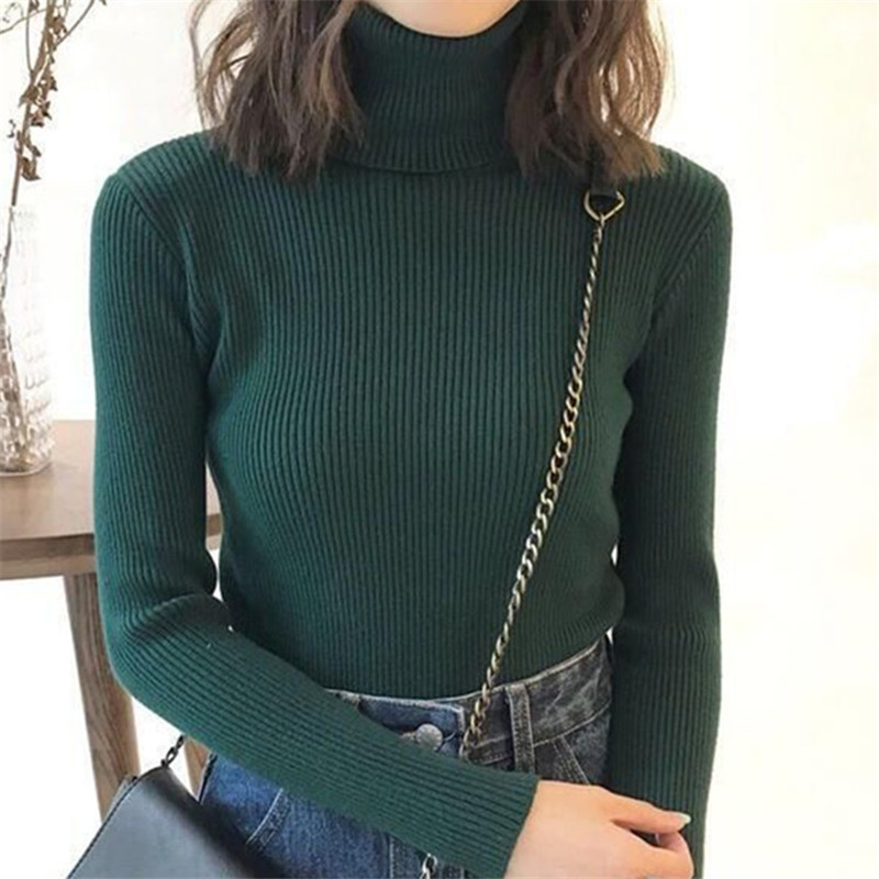 19 Women Sweater casual solid turtleneck female pullover full sleeve warm soft spring autumn winter knitted cotton 19
