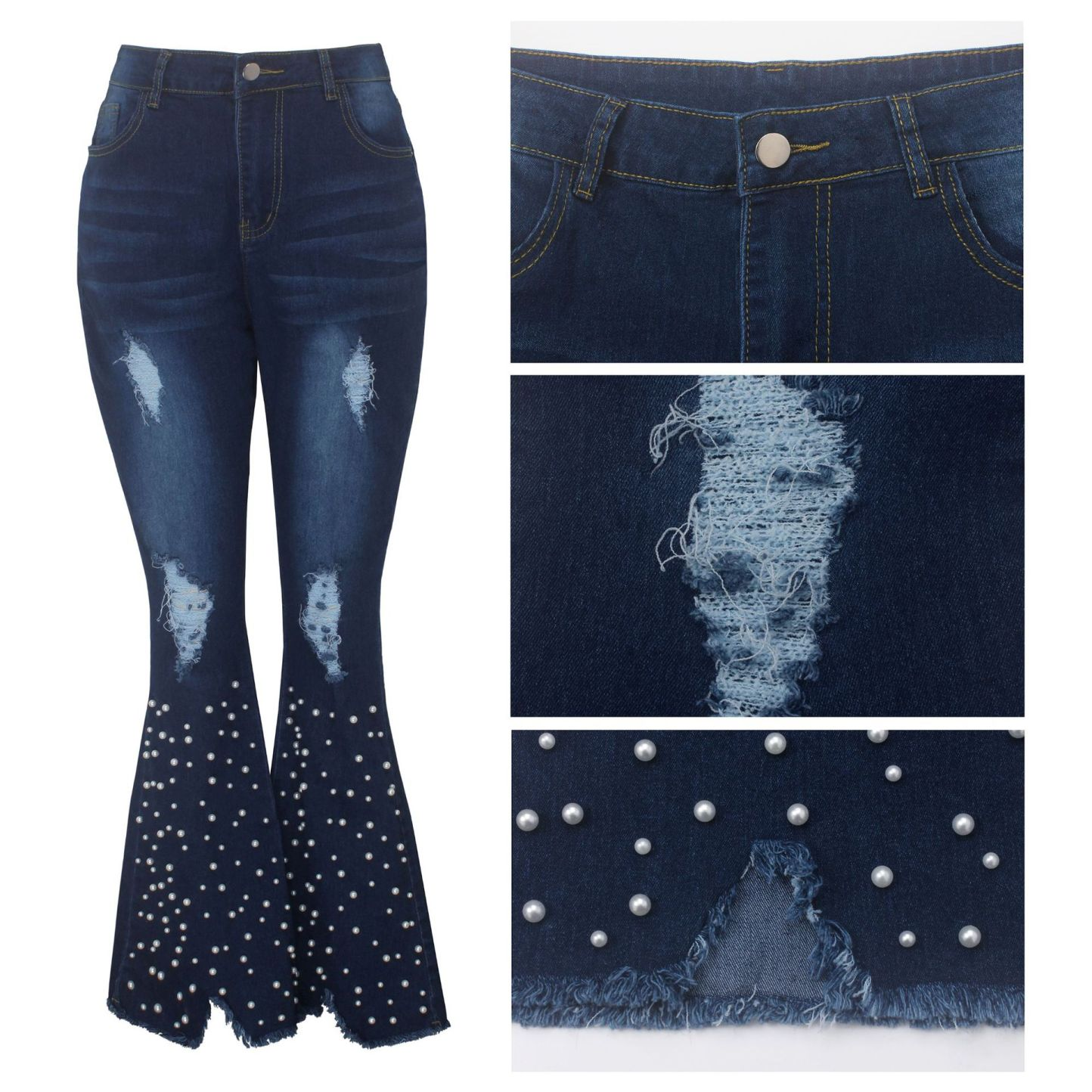 Jeans Pants Women Pearl Studded Jeans Denim Flare Pants Skinny Stretch Ripped Beading Jeans Chic Bottoms