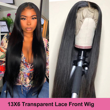 Wigs Human-Hair Lace-Front Transparent Pre-Plucked Virgo 13X6 Straight Black Women Peruvian 13x4