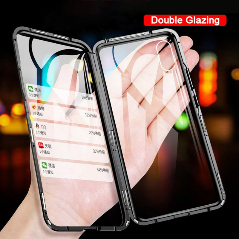 Magnetic Metal Case For Samsung S20 Plus Ultra Case Flip Tempered Glass Coque For Samsung A71 A51 A80 A90 A70 A60 A50 A30 Case