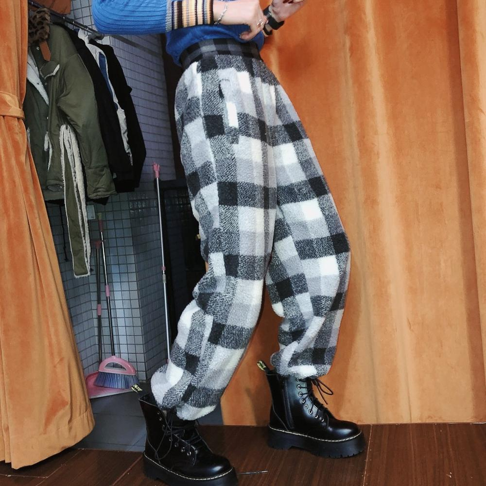 Plaid Cotton Pant women trousers winter northeast 2019 new Korean version thickened lamb wool warm loose casual pants trend