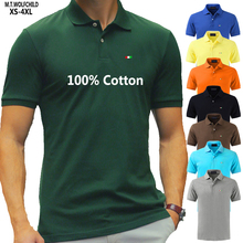 Mens Polos Shirts Short-Sleeve Solid-Color Summer 100%Cotton Tops Top-Quality Fashion