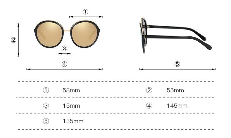 Women Sunglasses Frame Glasses Polariod Lens UV400 Polarized Sunglasses Women Fashion Round Frame Eyewear Glasses (16)