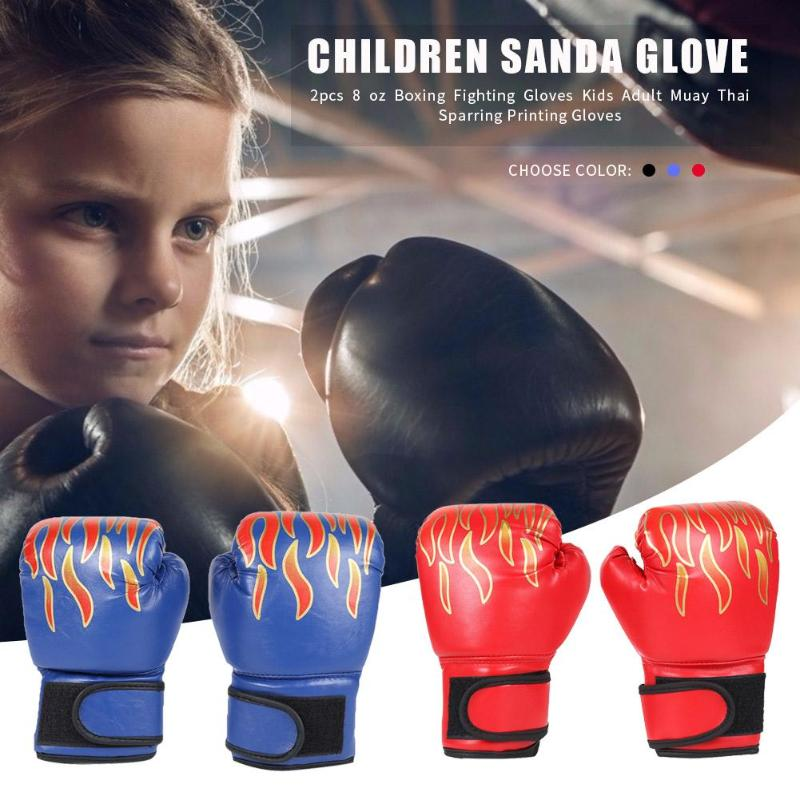 GLOGLOW 3 Colors PU Kids Boxing Gloves Children Cartoon MMA Sparring Training Gloves Muay Thai Sparring Training Gloves Blue